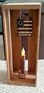 """""""Handmade"""" Craft- Flickering Candle in a Horizontal Box w/ Flag Emblem"""