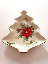 "MIKASA HOLIDAY BLOOM PORCELAIN GOLD TRIM CHRISTMAS TREE CANDY DISH 8 1/2""  NIB"