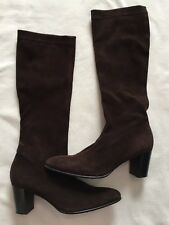 Robert Clergerie Brown Suede Below the Knee High Heeled Boots Size FR 4.5 AU 5.5