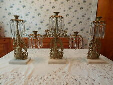 Set of 3 Victorian Brass Candlestick Holder With Crystals