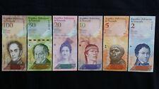 VENEZUELA 100 50 20 10 5 & 2 Bolivares x 6 UNC Banknote Set