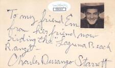 CHARLES STARRETT d 1986 Signed 3x5 Index Card Actor/Fighting Frontiersman JSA