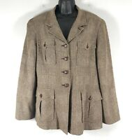 Separate Elements Brown Jacket Blazer Soft Vtg 90s Drapey Fabric Equestrian 12 L