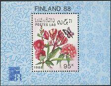 LAOS Bloc N°101 ** Bf Fleurs, Finlandia 1988 , Flowers Sheet SC# 876 MNH
