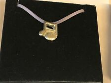 """Music Note TG31A English Pewter On 18"""" Purple Cord Necklace"""