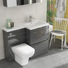 Modern Pemberton Grey Bathroom 2 Draw RH Vanity Sink Unit with Toilet and Basin