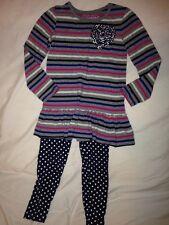 Flapdoodles Ruffle Stripe Tunic & Polkadot Leggings Set Girls 4