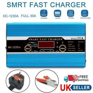 Fast Smart Leisure Battery Charger LCD 12V 30A For Caravan Campervan Boat UK