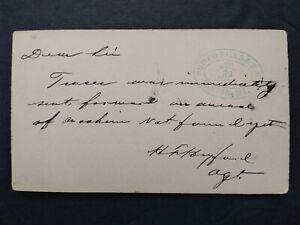 RPO: Rumford Falls & B R Canton, Maine 1882 Postal Card, Maine Railroad