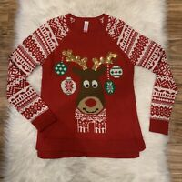 Reindeer Womens Large Sequined Cute Ugly Christmas Sweater Red White Soft
