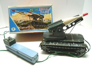 1960 Tin Battery Op. Japan MT Multi-Action MS-58 Missile Tank in BOX. A+ WORKS.