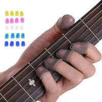 12 X Silicone Rubber Guitar Finger Guard Fingertip Thumb Picks Protectors Band