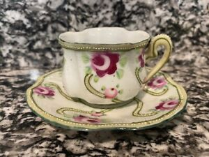 Vintage Tea Cup & Saucer Set - Green & Purple Floral Pattern