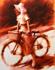 "Aldo Luongo ""Girl on Bicycle"" Art Hand Signed Serigraph on Paper Make an Offer"