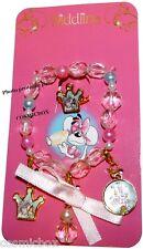 Parure DIDDL bracelet + bague réglable DIDDLINA bijoux rose perles ruban neuf