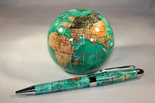 Genuine Multi-Gemstone Globe Paper Weight & Pen Executive Desk Set Green Pearl