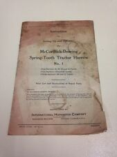 McCormick-Deering Spring-Tooth Tractor Harrow No. 1 Intructions Manual
