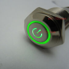 12V 16mm Green Power Symbol&Angle Eye LED Push Button Metal Switch ON/OFF Switch