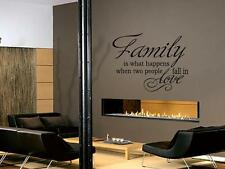"""FAMILY IS WHAT HAPPENS WHEN Vinyl Wall Decal Words Lettering Quote Saying 36"""""""