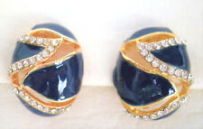 Clip on blue enamel effect with crystals gold tone earrings 2cm by 1.5cm