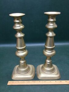 """Antique Pair of Brass Push-up Candlesticks 19th Century ~ 12"""" Tall"""