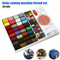64 Rolls Sewing Machine Line thread Spool Set Bobbin Reel Needle Tape Kit