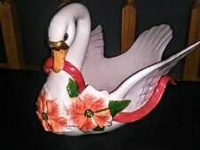 Rare Fitz & Floyd 1987 Christmas Swan Centerpiece Bowl Decoration Very Large
