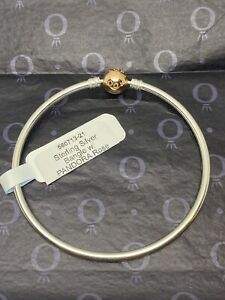 Pandora Moments Silver Bangle with PANDORA Rose Gold Clasp Size 21 cm 8.3 In