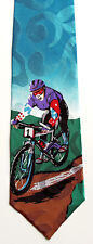 Road Bicycle Racing Mens Silk Neck Tie Bike Cyclist Race Cycling Teal Necktie