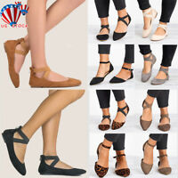 Fashion Ankle Strap Ballerina Womens Flats Ballet Pumps Summer Comfy Shoes Size