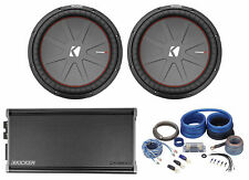 "(2) Kicker 43CWR152 COMPR15 15"" 3200w Car Subwoofers+Mono Amplifier+Amp Kit"