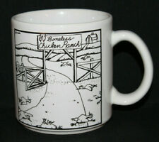 Far Side Gary Larson '83 Black White Boneless Chicken Ranch Cup Mug Some Crazing
