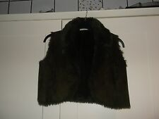 LADIES BROWN SIZE 14 GILET /SHRUG FAUX SUEDE EFFECT