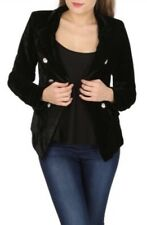 Izabel London Nero Giacca di velluto stile vintage, Blazer Donna, taglia: 8