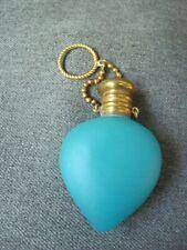 Antique satin blue glass heart shaped cork stopper perfume bottle w/ finger ring