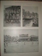 Australia Cricket team in London and 1st test Lords 1899 old prints