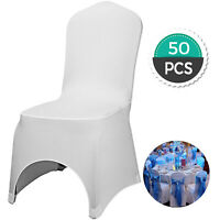 50pcs White Chair Covers Full Seat Cover Spandex Lycra Stretch Banquet Wedding