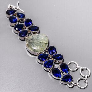 "Prehnite & Blue Sapphire 925 Sterling Silver Ethnic Bracelet 7-7.99"" B4930-64"