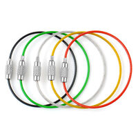 5PCS Stainless Steel Wire Keychain Cable Key Ring Chain Outdoor Hiking Style New