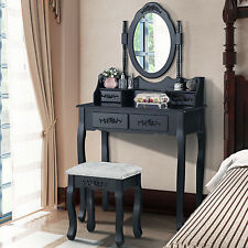 Black Dressing Table and Stool Set Oval Mirror Makeup Dresser With 4 Drawers