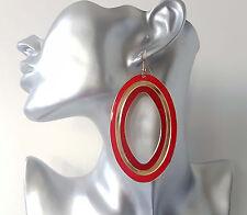 Gorgeous RED & gold tone - glitter long oval shape hoop drop dangly earrings,
