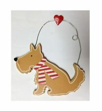 GISELA GRAHAM WOODEN DOG SCARF HEART HANGING CHRISTMAS XMAS DECORATION TREE TAG