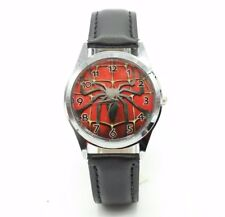 Spider-Man Spider and Web Round Face Leather Band Wrist Watch