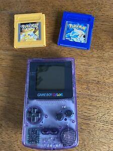 Nintendo Gameboy Colour - Atomic Purple With Pokemon Yellow & Blue