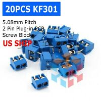 20PCS KF301-2P 2 Pin Plug-in Screw Terminal Block Connector 5.08mm Blue