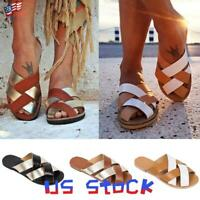 Chic Women's Peep Toe Slip On Casual Sandals Braided Cross Flats Shoes Beach US