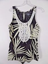 Merona Tank Top Black Tropical Print Lace Bodice Sleeveless Women's S