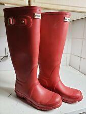 HUNTER ORIGINAL TALL SIZE UK 3 EU 36 WOMEN GIRLS RED WELLINGTON WELLIES BOOTS