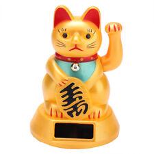 Solar Winkekatze Gold Maneki Glücksbringer Glückskatze Winkende Glückliche Katze