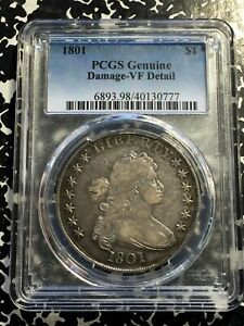 1801 U.S. Draped Bust $1 Dollar PCGS VF Details Lot#A121 Silver! Scarce!